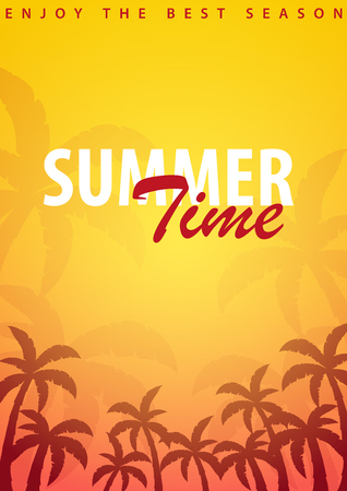 Summer Time backgrounds with palms. Summer placard poster flyer invitation card. Summer time. Vector Illustration