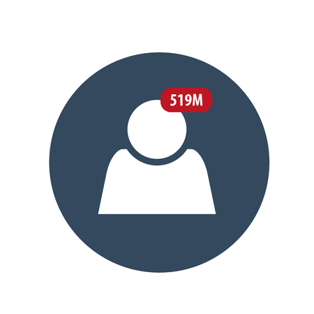 Follower isolated counter notification. Flat Social Media Sign. Vector illustration