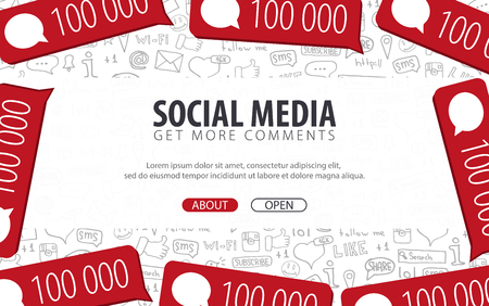 Get more Comments. Social Media banners with hand draw doodle background. Vector illustration