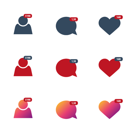 Set of Like, Comment, Follower isolated counter notification. Flat Social Media Sign. Vector illustration Vectores