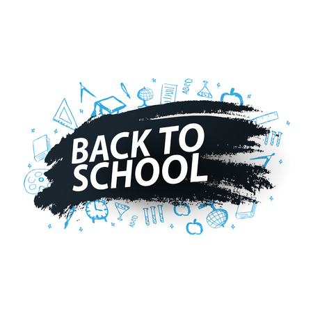 Back to School background with hand-draw doodles. Education banner. Vector illustration