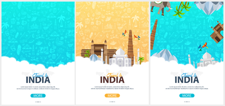 Set of India travel banners. Indian Hand drawn doodles on background. Vector illustration