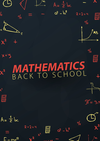 Mathematics School subject with hand-draw doodles. Education banner. Vector illustration