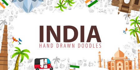 Travel to India. Indian Hand drawn doodles on background. Vector illustration
