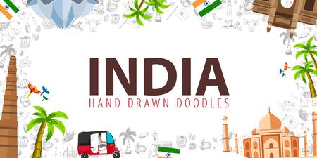 Viaggio in India. Doodles disegnati a mano indiani sullo sfondo. Illustrazione vettoriale Vettoriali