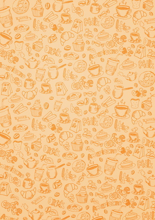 Coffee background with hand-draw doodle elements Ilustração
