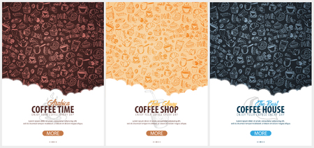 Coffee banner with the hand-draw doodle elements on the background. Coffee template for ads