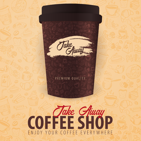 Take Away coffee cup with the hand-draw doodle elements on the background. Coffee banner for ads