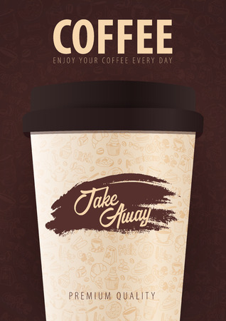 Take Away coffee cup with the hand-draw doodle elements on the background. Coffee poster for ads