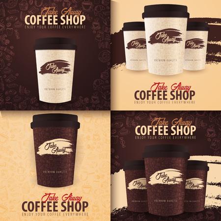 Taza de café para llevar con los elementos del doodle dibujados a mano en el fondo. Conjunto de banners de café para anuncios. Ilustración de vector