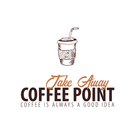Coffee shop  emblem with doodle element. Perfect for your business design Illustration