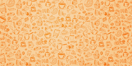 Coffee background with hand-draw doodle elements Stock Photo