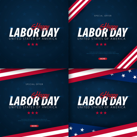 Set of Labor Day sale promotions, advertisings, posters, banners, templates with American flag. American labor day wallpapers. Voucher discount