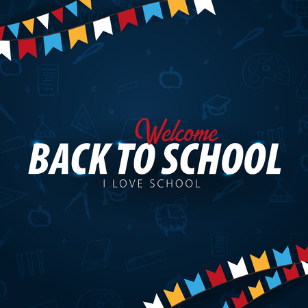 Back to School background. Education banner. Vector illustration Stock Photo