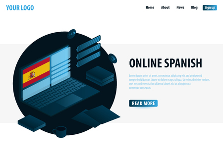 Online Learning Spanish. Education concept, Online training, specialization, university studies. Isometric vector illustration Stock Illustratie