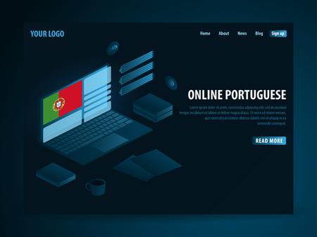 Online Learning Portuguese. Education concept, Online training, specialization, university studies. Isometric vector illustration