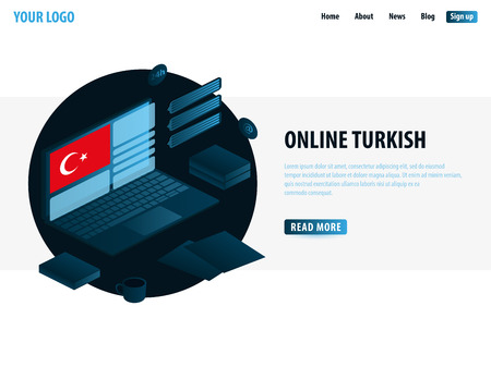Online Learning Turkish. Education concept, Online training, specialization, university studies. Isometric vector illustration Vectores