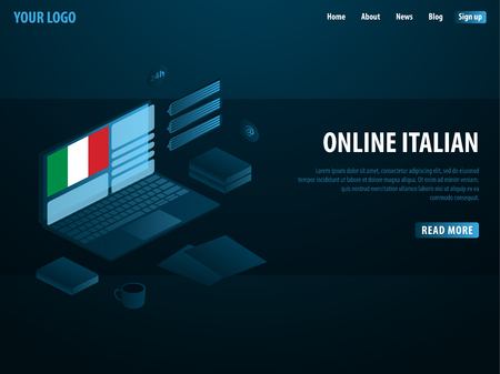 Online Learning Italy. Education concept, Online training, specialization, university studies. Isometric vector illustration