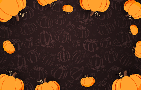 Autumn Backgrounds with Pumpkin for shopping sale, promo poster and frame leaflet, web banner. Vector illustration template Stock Photo