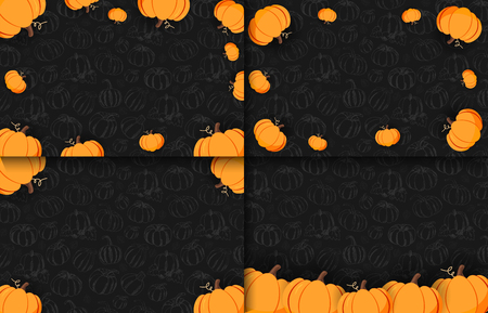 Set of Autumn banners on the dark background with Hand-draw Pumpkins. Thanksgiving day. For shopping sale, promo poster and frame leaflet, web banner. Vector illustration template Stock Photo