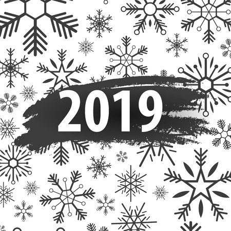 2019 Happy New Year Background with snowflakes for your Seasonal Flyers and Greetings Card or Christmas themed invitations Stock Photo