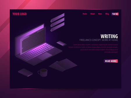 Writer. Can use for web banner or infographics. Freelance concept. Work at home Stock Photo