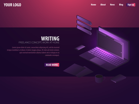 Writer. Can use for web banner or infographics. Freelance concept. Work at home Illustration