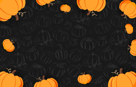 Autumn on the dark background with Hand-draw Pumpkins. Thanksgiving day. For shopping sale, promo poster and frame leaflet, web banner. Vector illustration template