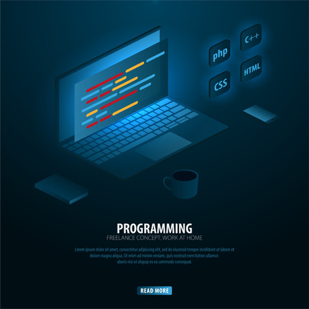 Isometric Developing programming and coding technologies. Can use for web banner or infographics. Freelance concept. Work at home