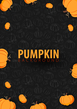 Autumn dark Background with Pumpkin for shopping sale, promo poster and frame leaflet, web banner. Vector illustration template  イラスト・ベクター素材