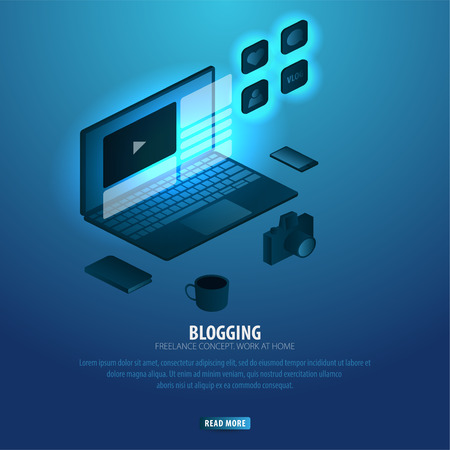 Blogging and Social Media. Can use for web banner or infographics. Freelance concept. Work at home