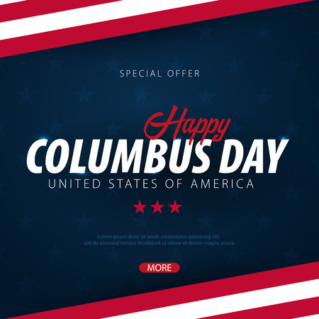 Columbus Day sale promotion, advertising, poster, banner, template with American flag. Columbus day wallpaper. Voucher discount Reklamní fotografie