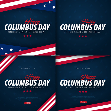 Set of Columbus Day sale promotion, advertising, poster, banner, template with American flag. Columbus day wallpaper. Voucher discount Foto de archivo - 107651521