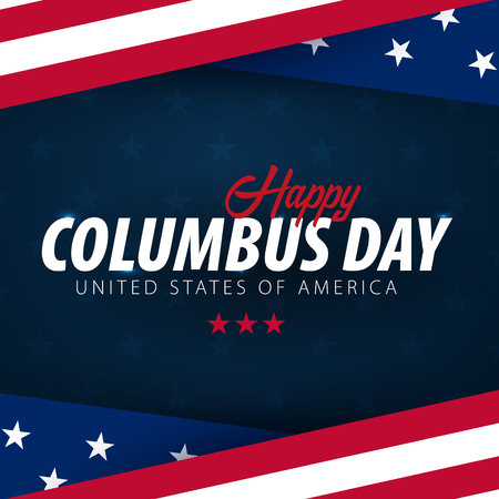 Columbus Day sale promotion, advertising, poster, banner, template with American flag. Columbus day wallpaper. Voucher discount Archivio Fotografico - 107651523