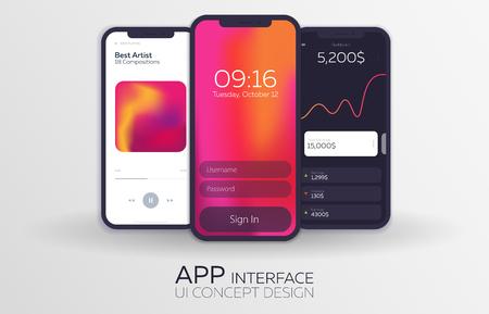 Set of Mobile UI Design Concepts. Bank Interface, Music Player, Login. Vector Illustration Vektorové ilustrace