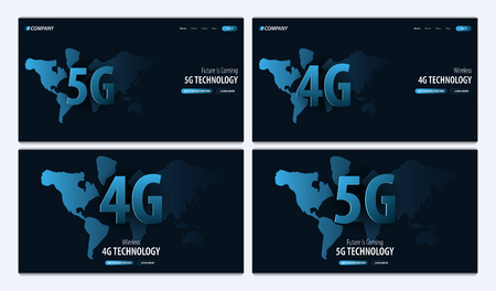 5G and 4G new wireless internet wifi connection. Website or mobile app landing page. Vector Illustration