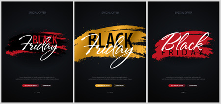 Set of Black Friday Sale Calligraphic banners. Vector Illustration