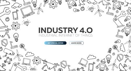 Banner Industria 4.0 Revolución industrial inteligente, automatización, asistentes robóticos. Ilustración vectorial Ilustración de vector