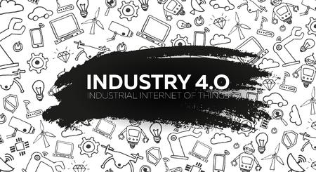 Industry 4.0 banner Smart industrial revolution, automation, robot assistants. Vector illustration
