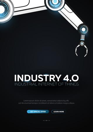 Banner de industria 4.0 con brazo robótico. Revolución industrial inteligente, automatización, asistentes robóticos. Ilustración vectorial