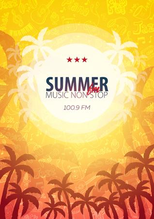 Beautiful flyer for summer party. Radio Music. Vector illustration. Invitation to nightclub
