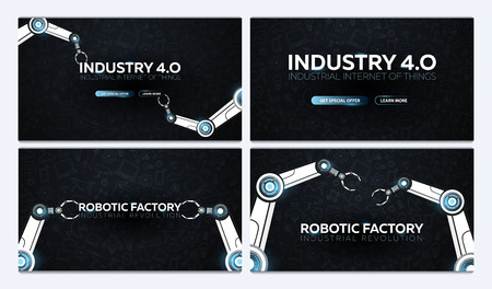 Set of Industry 4.0 banners with robotic arm. Smart industrial revolution, automation, robot assistants. Vector illustration
