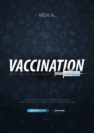 Vaccination. Get your Flu Shot. Medical poster. Health care. Vector medicine illustration 일러스트