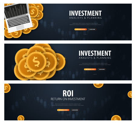 Set of Return on Investment, ROI, Market and Finance, Investment trading, Coins and Candle stick graph on the Backround