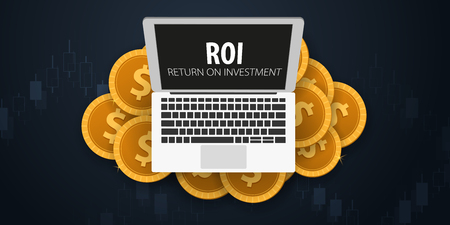 Return on Investment, ROI, Market and Finance, Investment trading, Coins and Candle stick graph on the Backround Illustration