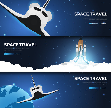 Set of Space banners. Space Shuttle. Mars, Earth, Exoplanet. Astronomical galaxy space background. Vector Illustration