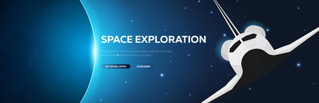 Space Exploration. Shuttle. Astronomical galaxy space background. Vector Illustration Stock fotó