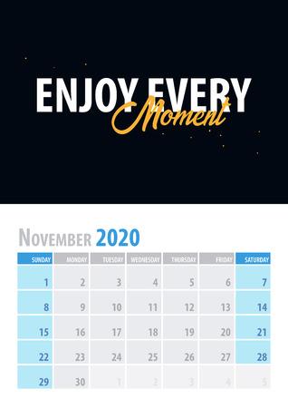 November. Calendar Planner 2020 with motivational quote on black background. Vector illustration Illustration