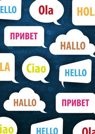 Sprachübersetzer-Banner mit Hand-Draw-Doodle im Hintergrund. Konzept der Übersetzungsagentur und des Dolmetschens