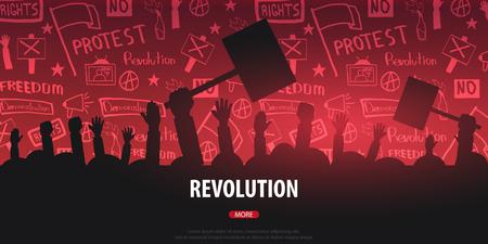 Siluette Folla di persone con bandiere, striscioni. Manifestazione, manifestazione, protesta, sciopero, rivoluzione. Banner con elementi scarabocchi disegnati a mano sullo sfondo